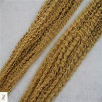 renk 27 kıvırcık toptan satış-Kinky Kıvırcık # 27 Çilek Sarışın Renk Saç Uzantıları 100% Perulu İnsan Saç 10-30 Inç Remy Saç Uzantıları Örgüleri