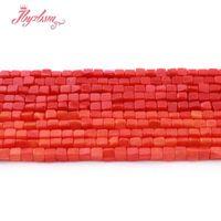 pulsera de piedra naranja al por mayor-3 mm Coral Red Orange Square Smooth Beads Granos de piedra natural para DIY collar pulseras pendiente joyería que hace 15