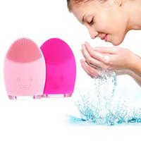 mini máquina de masaje al por mayor-Limpieza facial Mini cepillo de masaje eléctrico Lavadora Impermeable Herramientas de limpieza de silicona Instrumento de lavado facial de silicona