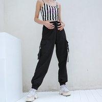 pantalones de mujer de estilo coreano al por mayor-Pantalones Casual Streetwear HEYounGIRL Joggers Negro Mujeres de Carga Capri de la alta cintura femenina floja de los pantalones de las señoras del estilo de los pantalones de Corea