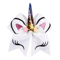 Wholesale 8 inch Cheer Bows Girls Hair Bows With Elastic Band Colorful Elastic Headband Grosgrain Bows for Girls