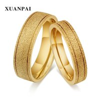Wholesale dull polished rings for sale - Group buy XUANPAI Lover Gold Color Stainless Steel Ring for Women Men Stylish Dull Polished Couple Engagement Promise Alliance Jewelry