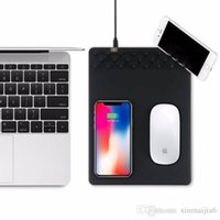 ingrosso caricatore multifunzionale del telefono-Hot Black Qi Wireless Charger ricarica tappetino mouse pad multifunzione antiscivolo per Smart Phone mobile