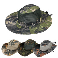 Wholesale army hats for women online - Boonie Hat Sport leaf Jungle Military Cap Adults Men Women Cowboy Wide Brim Hats For Fishing Packable Army Bucket Hat AAA1946