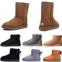 Wholesale tall woman silk for sale - Group buy 2019 deal price winter Australia warm snow Boots Mini fashion tall boots sheep Bailey Bowknot women s Bailey bow Knee Boots