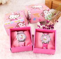 Wholesale color plastic paper for sale - Group buy Hello Kitty Children Wristwatch Kids Cartoon Watches With Boxes Gifts W001