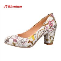 7b7e2c84f51 Designer Dress Shoes JYRhenium 2019 Autumn Plus Size 34-43 Zapatos Mujer  Thick Heel High Heels Ladies Women Pumps Flowers Decorated Red
