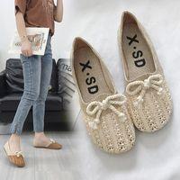 zapatos asakuchi al por mayor-Lovely2019 Tejido manual Ventilación confortable Asakuchi Bow Set Foot Zapatos de mujer