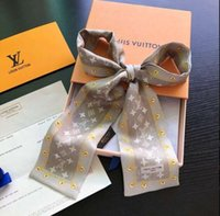 kravat başörtüsü toptan satış-D008 Moda Tasarım Eşarp Çiçek Baskı Kravat Kadınlar Ipek Eşarp Başkanı Eşarp Marka Kolu Çanta Kurdela Küçük Uzun Atkılar