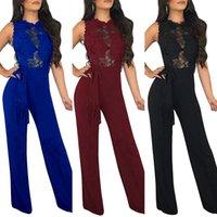 kadınlar için siyah pantolon rompers toptan satış-Zarif Kolsuz Dantel Rompers Bayan Yaz Tulum Seksi Bayanlar Casual Uzun Pantolon Tulum Kadınlar Tulum Siyah mavi Kırmızı ile kemer