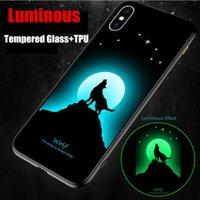 funda para gafas iphone al por mayor-Luminous Phone Case Soft Silicone + Tempered Glass Nueva cubierta de la caja del cielo estrellado para iPhone XS max XR XS 6 7 8 Plus