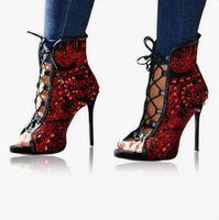 calções embelezados em renda venda por atacado-2019 Venda Quente Colorido Cristal Ankle Boots Embelezado Peep Toe Lace-up Curto Bootd Saltos Coverd Multi Cor Contas Bootie