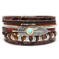 armband trends leder groihandel-Damen-Feder-Armband Trend Retro koreanische Art-Armband Gravel Mehrschichtige Leder Straßen-Schießen