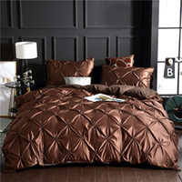 Wholesale purple twin bedding set online - Luxury khaki Super Soft Washed Silk Duvet Cover Set Set Pinch Pleat Brief Bedding Sets Twin Full Queen King Size