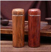 copo de água de bambu venda por atacado-350 ml de Aço Inoxidável Garrafas de Água 2 Cores de Parede Dupla Isolamento de Copos de Chá De Madeira De Bambu Cor Térmica Copos Atacado