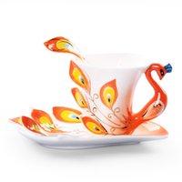 tazas de esmalte de ceramica al por mayor-Pavo real hermoso estilo chino de cerámica taza de café y platillo con una cuchara Set color del esmalte del pavo real del estilo de café 150ml / 5oz TC001