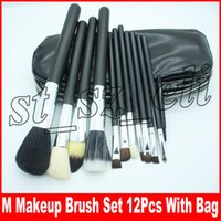 profesyonel fırça 12 parça toptan satış-M Profesyonel makyaj fırçaları NUDE 12 Parça makyaj fırça seti Kiti + PU Deri çanta siyah renk