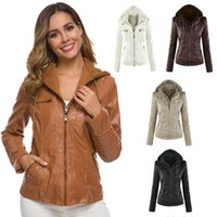 ingrosso giacche a lungo vestito donne-2019 autunno delle donne della moda di New maniche lunghe Pure Color Zipper cappotto in pelle plus size giacca slim-fit giacca con cappuccio capispalla XS-7XL M804
