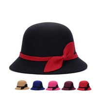 Wholesale felt bucket hats for sale - Group buy New Bow Tie Lady Fedoras Cloche Wool Felt Hats for Women Fedora Cap Spring and Autumn Women s Top Cap Girl Panama Bucket Hat
