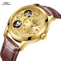 золото автоматические часы движение человек оптовых-2019 GUANQIN Gold Watch Man GJ16109 Double Movement Automatic Watches  Skeleton Mechanical Wristwatches Leather Clock Men