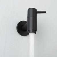 dış mekan muslukları toptan satış-Açık Bahçe Duvara Monte Havzası Musluk Banyo Çamaşır Makinesi Su Dokunun Prinç Tek Soğuk Lavabo Bataryası