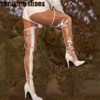 schwarze weiße oberschenkel hohe stiefel großhandel-Sexy Sommer Transparente Overknee Stiefel Damen Spitze Zehen High Heels Overknee Stiefel Weiß / Schwarz PVC Regenstiefel Schuhe Damen