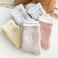Wholesale blue plush fish resale online - High Quality Embroidery Thicken Women Cotton Lovely Plush Keep Warm Sleep ladies funny cute Socks Winter Socks Stocking Soild Color M196Y