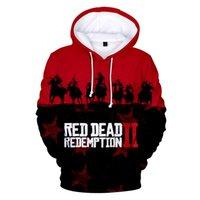 ingrosso giacche rosse con cappuccio-Felpa con cappuccio 3D Red Dead Redemption Stampa Felpa con cappuccio Anime Cartoon Pullover con cappuccio Maglione Autunno Inverno Hip Hop con cappuccio Giacca Streetwear Tees