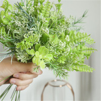 Wholesale fake accessories resale online - 10pcs Bouquet Accessories Flowers Grass Artifical Leaves Manufacturers Home Decoration Wedding Holding Flowers Plants Wall Fake flowers