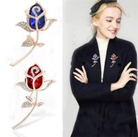 Wholesale free lapel pins resale online - Free DHL Creative Crystal Brooch Rhinestone Rose Flower Fashion Pin Gift Women Girls Rose Gold Lapel Pins
