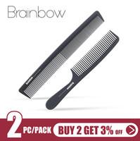 friseurkämme großhandel-Brainbow 2pc Kamm Anti-Statik-Carbon-Profi Pro Salon Hair Styling Werkzeuge Friseur Barbers Griff Pinsel