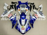 motocicletas carenados blancos al por mayor-3 regalos de alta calidad Nuevos carenados de motocicleta ABS aptos para YAMAHA YZF-R1 2004 2005 2006 R1 04 05 06 YZF1000 kits de carenado personalizados azul blanco 46
