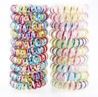 linha de cor china venda por atacado-Única cor metálica anel de cabelo linha telefônica corda de cabelo espiral em forma de anéis de cabelo elástico para meninas usam freeshipping
