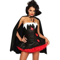 ingrosso costume del diavolo per le donne halloween-Costume di Halloween per le donne Devil Gioco di ruolo Uniforme da gioco Sexy costumi da vampiro Costumi senza spalline Cosplay