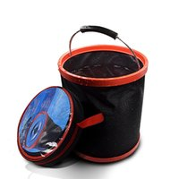 Wholesale camp bucket resale online - 2000D Oxford Folding Bucket Outdoor Car Washing Bucket Camping Barbecue Fishing Bucket Household home Cleaning Tools FFA2204