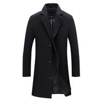ingrosso cappotto di trincea miscela di lana sottile-Nuovi uomini di lana miscele Suit Design Cappotto di lana Uomo Casual Trench Coat Design Slim Fit Giacche Suit ufficio Drop Shipping