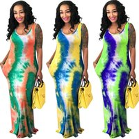 Wholesale trendy plus size dresses sleeves for sale - Group buy Women Summer Plus Size Dresses Tie Dye Sleeveless Maxi Dress Sexy Summer Clothes S XL Loose Trendy Long Skirt