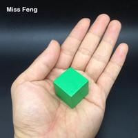 yığın oyunu toptan satış-B182 / 1 adet 2.5 cm Yeşil Renk Ahşap Küp Jenga Blokları Beceri Yığını Yetiştirilen Oyuncaklar Kule çöküyor Oyunları Çocuklar Hediyeler
