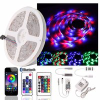 Wholesale rf diode resale online - RGB LED Strip light SMD Waterproof Flexible LED Ribbon Diode Tape RF Bluetooth WiFi controller V Power Adapter EU US