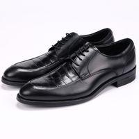 ingrosso scarpe a punta per i ragazzi-Coccodrillo grano nero / marrone chiaro scarpe da uomo a punta scarpe da uomo scarpe da sposa in vera pelle ragazzi scarpe da ballo