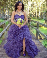 Wholesale sweet 16 dresses hi lo resale online - Wangyandress Africa Strapless Ball Gown Quinceanera Dresses Hi Lo Sleeveless Pleated Ruffled Split Sweet Organza Prom Gowns