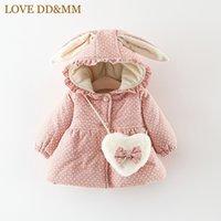 abrigo largo de invierno para niñas al por mayor-LOVE DDMM Girls Jacket 2018 Winter New Kid's Wear Girls Cute manga larga de dibujos animados orejas de conejo con capucha abrigo acolchado chaqueta + bolso