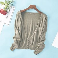 Wholesale air condition jacket for sale - Group buy Spring and Autumn New Women s Korean Solid Color V neck Single breasted Air Conditioning Shirt Knit Cardigan Short Jacket