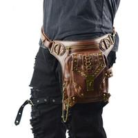 çanta kadın kaya toptan satış-SteamPunk Deri Bel Çantası Retro Kahverengi Crossbody Çanta Kaya Erkek Kadın Gotik Siyah Fanny Paketleri Moda Motosiklet Bacak Çantaları