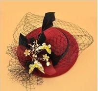 accesorio para el cabello mini diadema al por mayor-Mariposa de plumas de novia Tiara mini sombrero de pelo de realizar el cabello clip accesorio velo