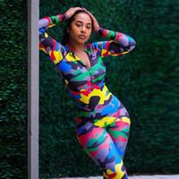 камуфляжный комбинезон оптовых-GXQIL прохладный Camo спортивная женщина фитнес одежда сухой подходят спортивные комбинезоны камуфляж комбинезон 2019 фитнес-тренировки одежда для женщин