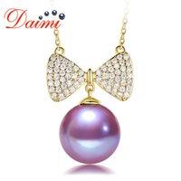 Daimi 11-12mm Große Perle Anhänger Halskette Echt 925 Sterling Silber Herz Runde Weiße Perle Halskette Für Frauen Edler Schmuck Anhänger