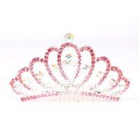 meninas tiara pentes venda por atacado-Presentes criativos da tiara do diamante do coração da tiara da coroa do pente do cabelo das crianças grandes para meninas