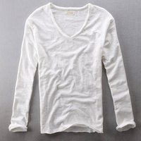 weiße t-shirts v hals männer großhandel-Herren Tops Tees 2019 Sommer neue Baumwolle Leinen V-Ausschnitt Langarm T-Shirt Modetrends Casual T-Shirts schwarz weiße Kleidung