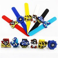 Wholesale pirate party ring resale online - Silicone Pat Hand Ring PVC Pirate Series Bracelet White Yellow Red Multi Colors Wristband Hot Selling ksa L1